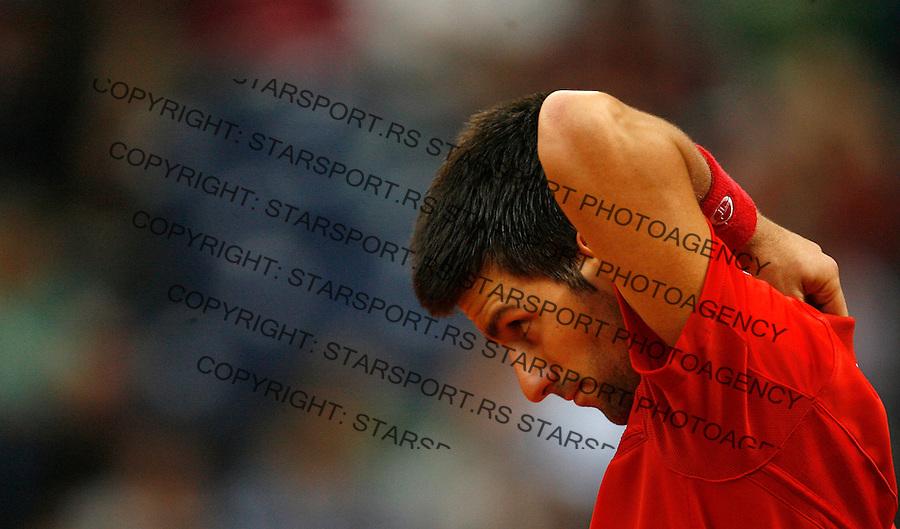Tenis, Davis Cup 2010.Serbia Vs. USA.Novak Djokovic (SRB) Vs. John Isner (USA).Novak Djokovic, react.Belgrade, 07.03.2010..foto: Srdjan Stevanovic/Starsportphoto ©