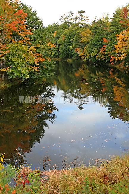 Autumn splendor refleced in a lake. Images of The Canadian Maritime Provinces of Nova Scotia and Prince Edward Island.