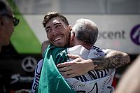 Giacomo Nizzolo (ITA/Dimension Data) meeting some friends outside the teambus before the start<br /> <br /> Stage 5: Saint-Dié-des-Vosges to Colmar(175km)<br /> 106th Tour de France 2019 (2.UWT)<br /> <br /> ©kramon