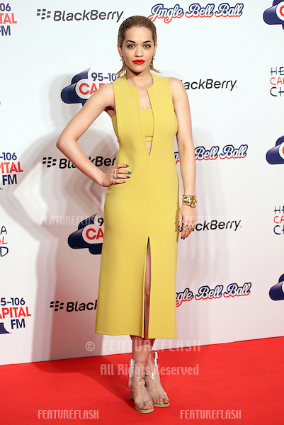 Rita Ora arriving for the Capital Radio Jingle Bell Ball, O2 Arena, London. 09/12/2012 Picture by: Alexandra Glen / Featureflash