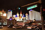 Traffic and castle on Las Vegas Blvd.