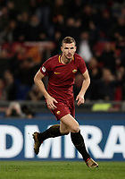 Calcio, Serie A: AS Roma - Atalanta, Roma, stadio Olimpico, 6 gennaio 2018.<br /> AS Roma's Edin Dzeko celebrates after scoring during the Italian Serie A football match between AS Roma and Atalanta at Rome's Olympic stadium, January 6 2018.<br /> UPDATE IMAGES PRESS/Isabella Bonotto