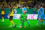 09.08.2019, Merkur Spiel-Arena, Düsseldorf, GER, DFB Pokal, 1. Hauptrunde, KFC Uerdingen vs Borussia Dortmund , DFB REGULATIONS PROHIBIT ANY USE OF PHOTOGRAPHS AS IMAGE SEQUENCES AND/OR QUASI-VIDEO<br /> <br /> im Bild | picture shows:<br /> Lukas Koenigshofer (KFC Uerdingen #1) im Mittelpunkt, <br /> <br /> Foto © nordphoto / Rauch