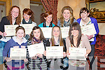 Under 13st: Ladies from GAA club who were presented with their under 13 Kerry Ladies Certificates on Sunday in Ballyroe Heights Hotel, Tralee. Front l-r: Ellen Hickey(Firies), Niamh Faulds (Glenflesk),Aobhinn Dobbins (Kilcummin) and Annie Potts (Dr Crokes). Back l-r: Laura Quinn,Laura Murphy and Sarah Murphy (Firies), Christine McAuliffe (Kilcummin) and Niamh Hickey (Spa)......... . ............................... ..........