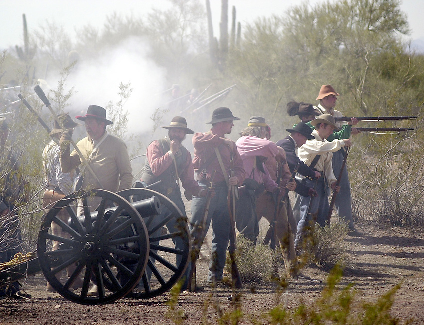 "The Confederate skirmish line pounds Union troops during the ""Battle of Glorieta NM"" where more than 1100 Texans fought 800 Colorado Union Volunteers ""to a mutually exhausted stand-off."""