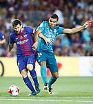 FC Barcelona's Leo Messi (l) and Real Madrid's Carlos Henrique Casemiro during Supercup of Spain 1st match. August 13,2017. (ALTERPHOTOS/Carrusan)