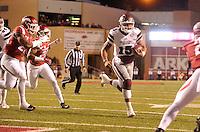 NWA Democrat-Gazette/MICHAEL WOODS • Mississippi State quarterback Dak Prescott runs for a touchdown in the 1st quarter of Saturday nights game at Razorback Stadium November 21, 2015.