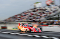 Mar. 10, 2012; Gainesville, FL, USA; NHRA funny car driver Cruz Pedregon during qualifying for the Gatornationals at Auto Plus Raceway at Gainesville. Mandatory Credit: Mark J. Rebilas-