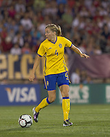 Sweden defender Linda Sembrant (4) checks her options as she receives a pass. The US Women's national team beat Sweden, 3-0, at Rentschler Field on July 17, 2010.