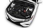 Car stock 2018 Toyota Camry SE Auto 4 Door Sedan engine high angle detail view