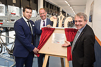 Robert Goodwill MP, Minister of State for Transport (right), pictured with Johnny Wiseman of East Midlands Trains (left) and Conrad Haigh from ATOC at the official opening of Nottingham Railway Station's new secure Cycle Hub