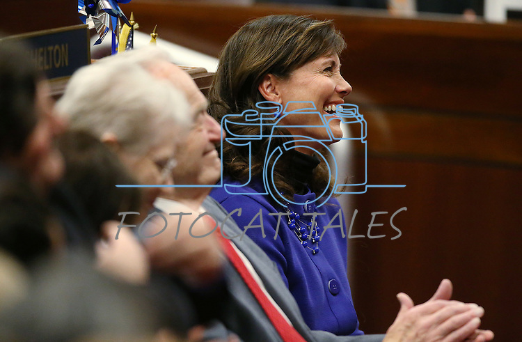 Lynne Heller listens as her husband U.S. Sen. Dean Heller speaks to the Nevada Legislature, in Carson City, Nev., on Monday, April 6, 2015.  <br /> Photo by Cathleen Allison