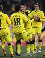 FUSSBALL   1. BUNDESLIGA  SAISON 2011/2012   20. Spieltag 1. FC Nuernberg - Borussia Dortmund         03.02.2012 Jubel nach dem Tor zum 0:2 Lucas Barrios, Sebastian Kehl (v. li., Borussia Dortmund)