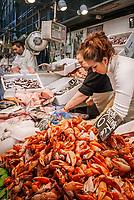 Spanien, Andalusien, Provinz Cádiz, Jerez de la Frontera: Markt, Fischverkaeufer, Fische  | Spain, Andalusia, Province Cádiz, Jerez de la Frontera: market, fishmonger