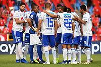 CALI - COLOMBIA, 12- 05-2019: Jugadores de Millonarios, durante partido entre América de Cali y Millonarios, de la fecha 1 de los cuadrangulares semifinales por la Liga Águila I 2019 jugado en el estadio Pascual Guerrero de la ciudad de Cali. / Players of Deportes Tolima,during a match between America de Cali and Millonarios, of the 1st date of the semifinals quarters for the Aguila Leguaje I 2019 at the Pascual Guerrero stadium in Cali city. Photo: VizzorImage / Nelson Ríos / Cont.