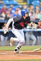 Asheville Tourists left fielder Will Golsan (8) runs to first base during a game against the Delmarva Shorebirds at McCormick Field on May 4, 2019 in Asheville, North Carolina. The Shorebirds defeated the Tourists 4-0. (Tony Farlow/Four Seam Images)