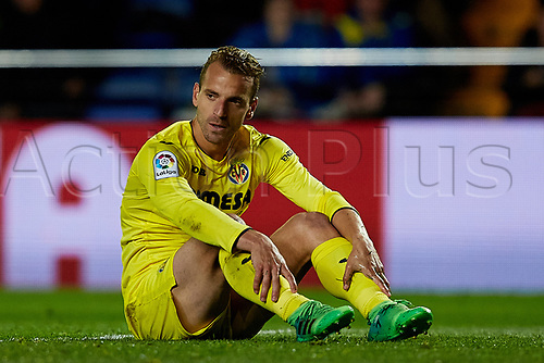 April 28th 2017, Vila-real, Castellon, Spain, La Liga football league, Vilarreal versus Real Sporting de Gijon; Roberto Soldado of Villarreal CF reacts on the pitch;