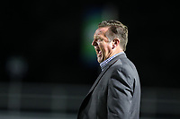 CARY, NC - SEPTEMBER 17: Head coach James Clarkson of the Houston Dash yells instructions to his players during a game between Houston Dash and North Carolina Courage at Sahlen's Stadium at WakeMed Soccer Park on September 17, 2019 in Cary, North Carolina.
