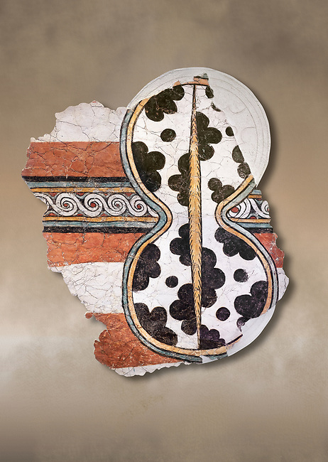 The 'figure of eight shield'  Mycenaean fresco wall painting, Mycenae Acropolis, Greece Cat No 11671. National Archaeological Museum, Athens.<br /> <br /> 12th-14th cent BC.<br /> <br /> The Mycenaean 'figure of eight shield' were originaly made of cows hide and was the symbol of a goddess of war.