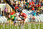 Gary Sayers of Kerry fails to stop Cork's Owen O'Mahony last Wednesday night in Pairc Ui Chaoimh, Cork in the Munster GAA Junior Football Championship.