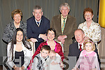 Valarie and Ian Harrington Loughquittane Killarney celebrate the christening of their daugter Ciara in the Brehon Hotel Killarney on Saturday front row l-r: Olwyn Trant, Cathan, Valarie, Ciara, Ian and Emer Harrington. Back row: Maura Trant, Paul Harrington, Eugene and Kitty Harrington.