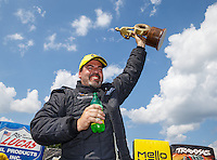 Sep 5, 2016; Clermont, IN, USA; NHRA pro stock driver Chris McGaha celebrates after winning the US Nationals at Lucas Oil Raceway. Mandatory Credit: Mark J. Rebilas-USA TODAY Sports