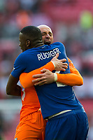 Chelsea's Wilfredo Caballero celebrates with team mate Antonio Rudiger <br /> <br /> Photographer Craig Mercer/CameraSport<br /> <br /> Emirates FA Cup Final - Chelsea v Manchester United - Saturday 19th May 2018 - Wembley Stadium - London<br />  <br /> World Copyright &copy; 2018 CameraSport. All rights reserved. 43 Linden Ave. Countesthorpe. Leicester. England. LE8 5PG - Tel: +44 (0) 116 277 4147 - admin@camerasport.com - www.camerasport.com