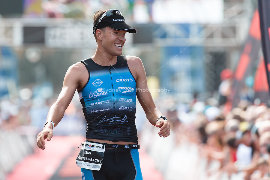 MELBOURNE, March 21, 2015 - Jens PETERSEN-BACH (DNK) #9 crosses the finish line of the 2015 IRONMAN Asia-Pacific Championship in Melbourne, Australia on Sunday March 21, 2015. (Photo Sydney Low / sydlow.com)