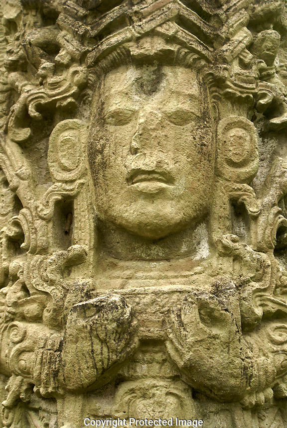 Likeness of 18 Rabbit on Stela A at the Mayan ruins of Copan, Honduras. Copan is a UNESCO World Heritage Site.