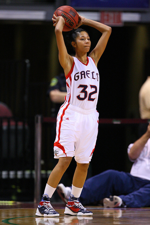 March 6, 2011; Las Vegas, NV, USA; Saint Mary's Gaels guard Jasmine Smith (32) passes the ball against the San Diego Toreros during the WCC Basketball Championships semifinal game at Orleans Arena. The Gaels defeated the Toreros 71-68.