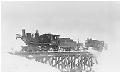 3/4 fireman's-side view of D&amp;RGW #360 &amp; #361 on snow removal train crossing trestle.<br /> D&amp;RGW  Cerro Summit, CO  Taken by Perry, Otto C. - 2/22/1940