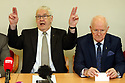 Hooded men Francis McGuigan, guestures beside Liam Shannon (right) during a Amnesesty International press conference in Belfast, Northern Ireland, Tuesday 20th of March 2018. The European Court of Human Rights (ECHR) has rejected a request to find that men detained during internment in Northern Ireland suffered torture. The so-called hooded men claimed they were subjected to torture by the British army in 1971. Lawyers for the men have called on the Irish government to appeal. In 1978, the European Court of Human Rights held that the UK had carried out inhuman and degrading treatment. Photo/Paul McErlane
