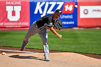 El Paso Chihuahuas starting pitcher Jeremy Guthrie (11) warms up in the bullpen before the game against the Salt Lake Bees in Pacific Coast League action at Smith's Ballpark on April 24, 2016 in Salt Lake City, Utah. This was Game 2 of a double-header.  Salt Lake defeated El Paso 6-5. (Stephen Smith/Four Seam Images)