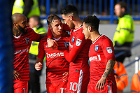 Lee Martin of Gillingham second left celebrates scoring the third goal with Conor Wilkinson of Gillingham who scored the first  during Portsmouth vs Gillingham, Sky Bet EFL League 1 Football at Fratton Park on 10th March 2018