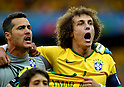 Julio Cesar (BRA), David Luiz (BRA),<br /> JULY 8, 2014 - Football / Soccer : FIFA World Cup 2014 semi-finals match between Brazil 1-7 Germany at Mineirao stadium in Belo Horizonte, Brazil.<br /> (Photo by FAR EAST PRESS/AFLO)