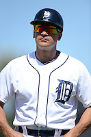 Detroit Tigers first base coach Omar Vizquel (31) during a spring training game against the St. Louis Cardinals on March 3, 2014 at Joker Marchant Stadium in Lakeland, Florida.  Detroit defeated St. Louis 8-5.  (Mike Janes/Four Seam Images)