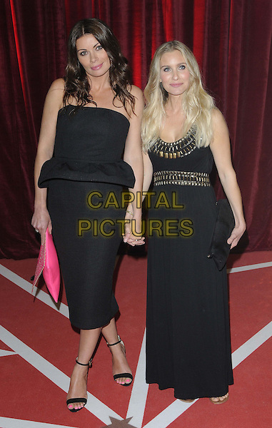 Alison King & guest.attended the British Soap Awards 2013, Media City, Salford, Manchester, England, UK, 18th May 2013..full length strapless black dress holding hands peplum pink clutch bag long maxi gold .CAP/CAN.©Can Nguyen/Capital Pictures.