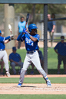 Kansas City Royals shortstop Maikel Garcia (4) at bat during an Instructional League game against the Chicago White Sox at Camelback Ranch on September 25, 2018 in Glendale, Arizona. (Zachary Lucy/Four Seam Images)