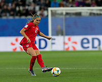 GRENOBLE, FRANCE - JUNE 15: Shelina Zadorsky #4 of the Canadian National Team passes the ball during a game between New Zealand and Canada at Stade des Alpes on June 15, 2019 in Grenoble, France.