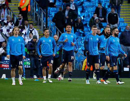 26.04.2016. The Etihad, Manchester, England. UEFA Champions League. Manchester City versus Real Madrid. Real Madrid players warm up before tonight's game.