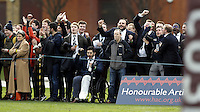 Oxford fans celebrate during the Pcubed Rugby League Varsity game between Oxford and Cambridge University at the HAC Ground, London, on Fri March 3, 2017