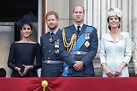 Meghan Duchess of Sussex, Prince William, Prince Harry, Catherine Duchess of Cambridge<br /> The Royal Family watch RAF centenary fly-past at Buckingham Palace, The Mall, London, England on July 10, 2018.<br /> CAP/GOL<br /> &copy;GOL/Capital Pictures