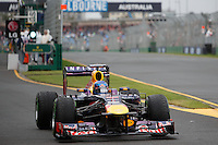 Sebastian Vettel (DEU) from the Infiniti Red Bull Racing team leaves the pits for the final qualifying session on day four of the 2013 Formula One Rolex Australian Grand Prix at the Albert Park Circuit in Melbourne, Australia.
