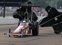 Aug 16, 2014; Brainerd, MN, USA; NHRA top alcohol dragster driver Chase Copeland during qualifying for the Lucas Oil Nationals at Brainerd International Raceway. Mandatory Credit: Mark J. Rebilas-
