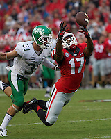 The Georgia Bulldogs played North Texas Mean Green at Sanford Stadium.  After North Texas tied the game at 21 early in the second half, the Georgia Bulldogs went on to score 24 unanswered points to win 45-21.  Georgia Bulldogs wide receiver Rantavious Wooten (17), North Texas Mean Green defensive back Kenny Buyers (31)