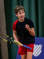 Wateringen, The Netherlands, December 1,  2019, De Rhijenhof , NOJK 12 and16 years, Final boys 12 years: Mees Röttgering (NED) celebrates his win<br /> Photo: www.tennisimages.com/Henk Koster