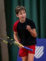 Wateringen, The Netherlands, December 1,  2019, De Rhijenhof , NOJK 12 and16 years, Final boys 12 years: Mees Röttgering (NED) celebrates his win<br /> Photo: www.tennisimages.com/Henk Koster