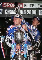 Champagne time for Bjarne Pedersen and Chris Holder of Poole - Poole Pirates vs Lakeside Hammers, Elite League Grand Final 2nd leg at Wimborne Road, Poole - 13/10/08 - MANDATORY CREDIT: Rob Newell/TGSPHOTO