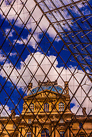 Inside the glass Louvre Pyramid, designed by I. M. Pei (this is the main entrance to the Louvre Museum), Paris,  France.