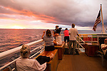 Sailing the ocean off of the coast of Panama at sunset. Storm clouds make for a great sunset photo op on the deck of the ship.